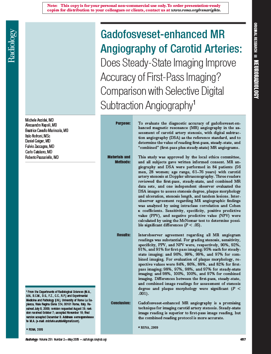 Gadofosveset-enhanced MR Angiography of Carotid Arteries: Does Steady-State Imaging Improve Accuracy of First-Pass Imaging?