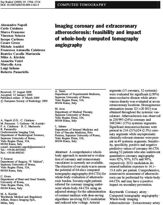 Imaging coronary and extracoronary atherosclerosis: impact of whole-body computed tomography angiography