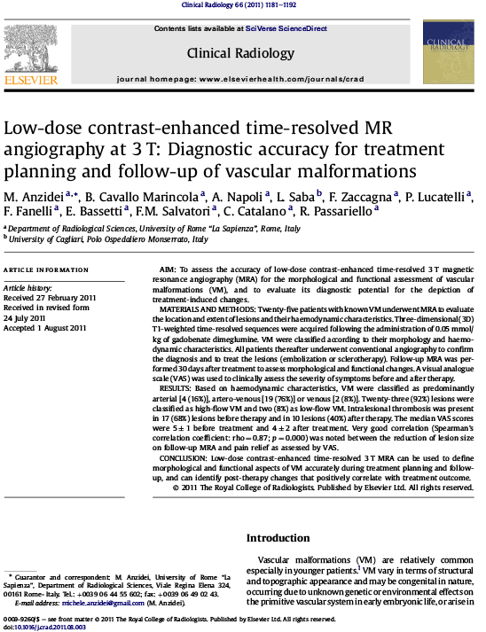 Low-dose contrast-enhanced time-resolved MR angiography at 3 T: Diagnostic accuracy for treatment planning and follow-up of vascular malformations