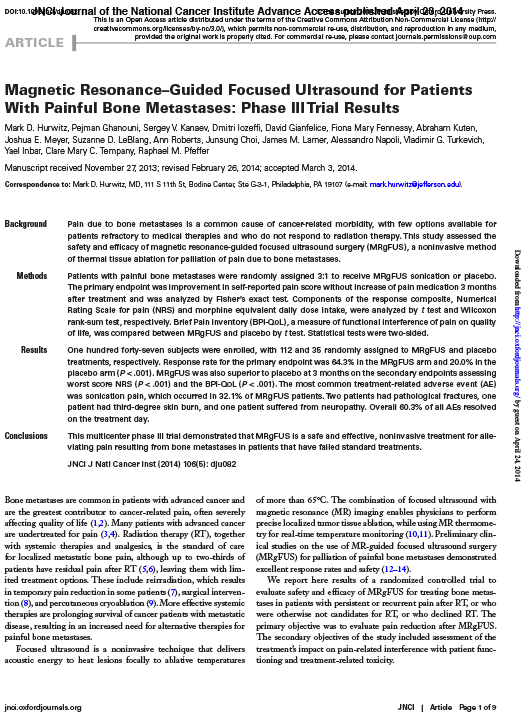 Magnetic Resonance–Guided Focused Ultrasound for Patients With Painful Bone Metastases: Phase III Trial Results