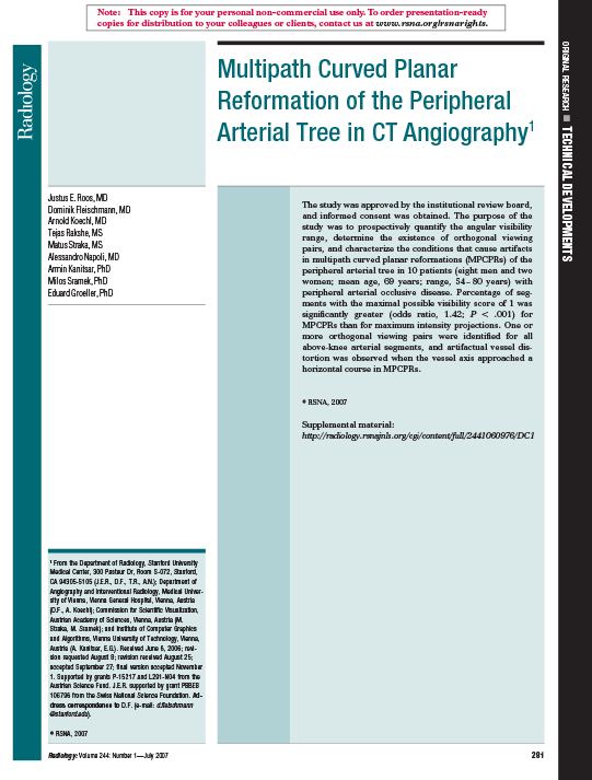 Multipath Curved Planar Reformation of the Peripheral Arterial Tree in CT Angiography