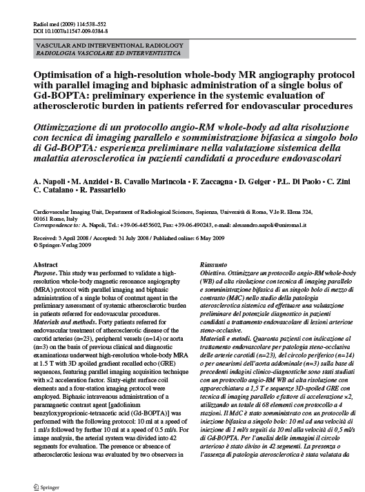 Optimisation of a high-resolution whole-body MR angiography protocol with parallel imaging and biphasic administration of a single bolus of Gd-BOPTA