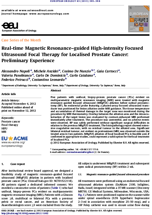 Real-time Magnetic Resonance–guided High-intensity Focused Ultrasound Focal Therapy for Localised Prostate Cancer