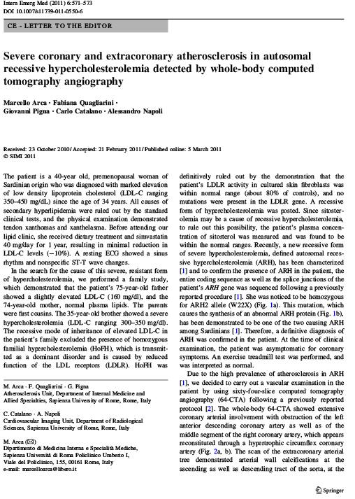 Atherosclerosis in autosomal recessive hypercholesterolemia detected by whole-body computed tomography angiography